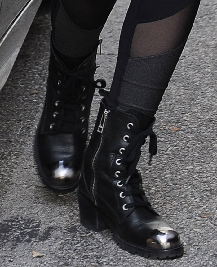 Lily-Collins-Zadig-&-Voltaire-metal-toe-boots