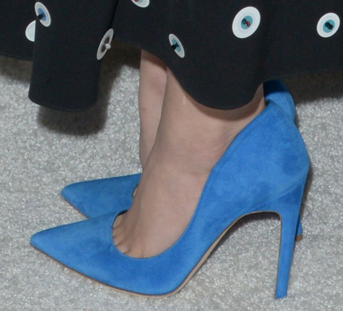 Lucy Hale's feet in blue suede Rupert Sanderson pumps