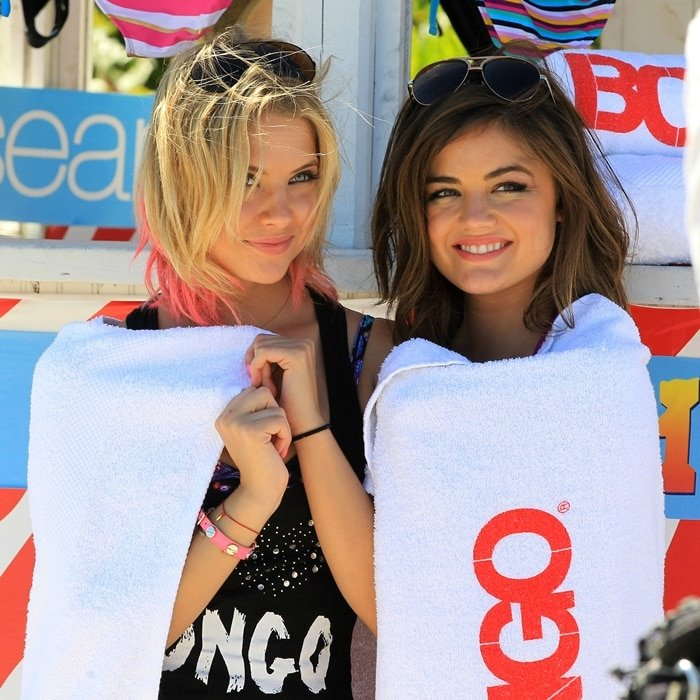 Pretty Little Liars stars Lucy Hale and Ashley Benson at a promotional event in 2012