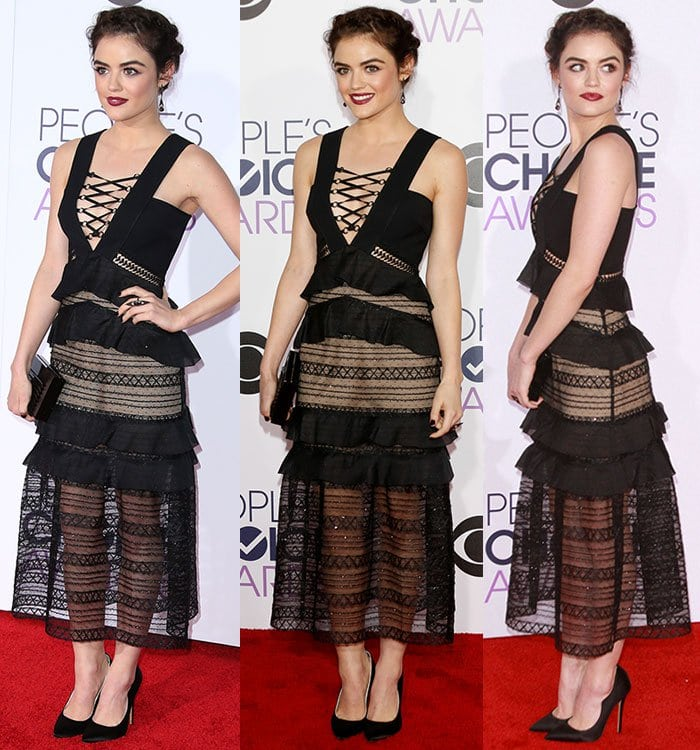 Lucy Hale styles her black Self-Portrait dress with a pair of Brian Atwood heels