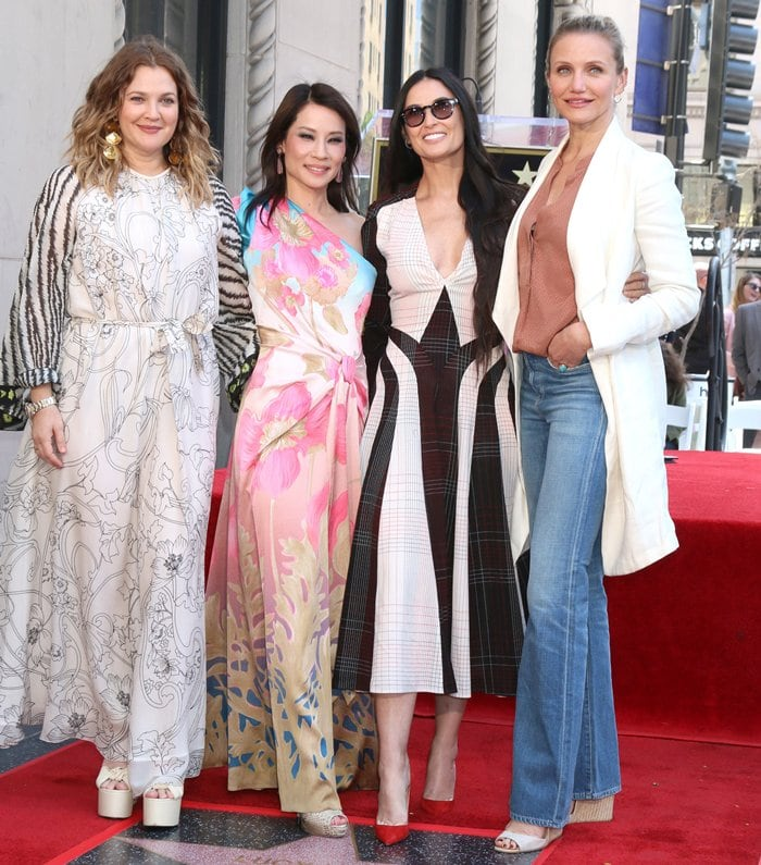 Lucy Liu was joined by her Charlie's Angels co-stars Cameron Diaz, Drew Barrymore, and Demi Moore