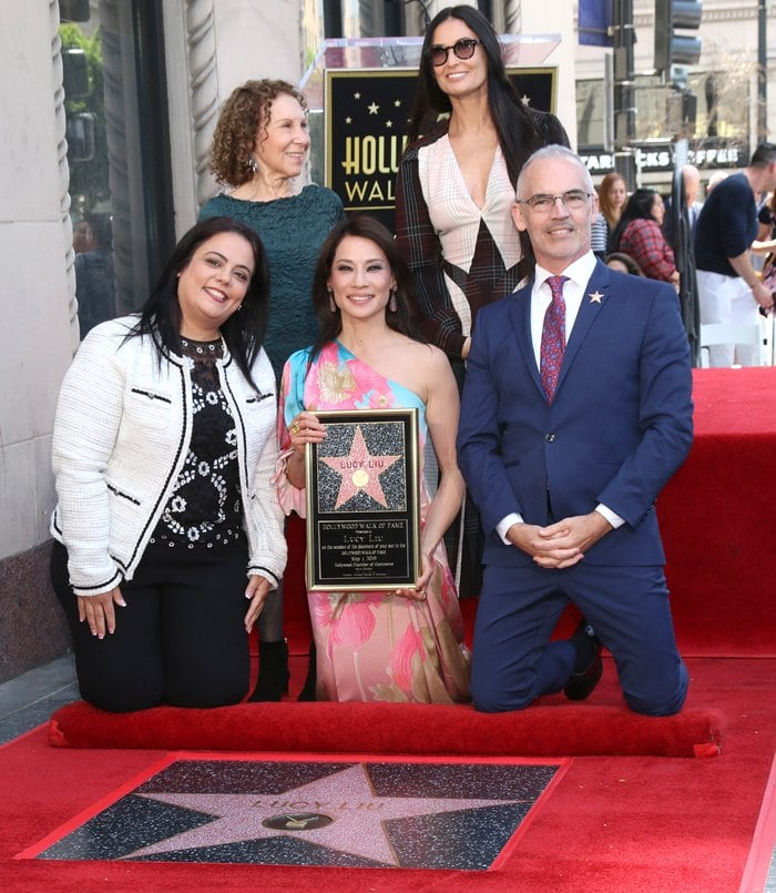 Rana Ghadban, Rhea Perlman, Lucy Liu, Demi Moore, Mitch O'Farrell at Lucy Liu's Hollywood Walk Of Fame ceremony