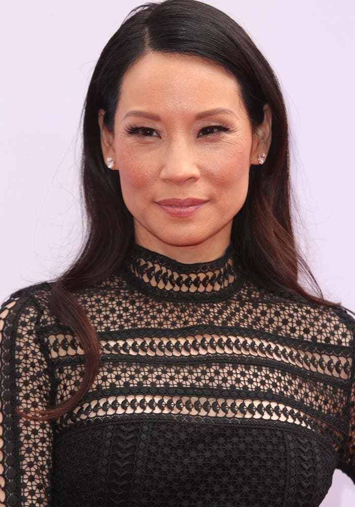 Lucy Liu wore a black lace dress by Self-Portrait