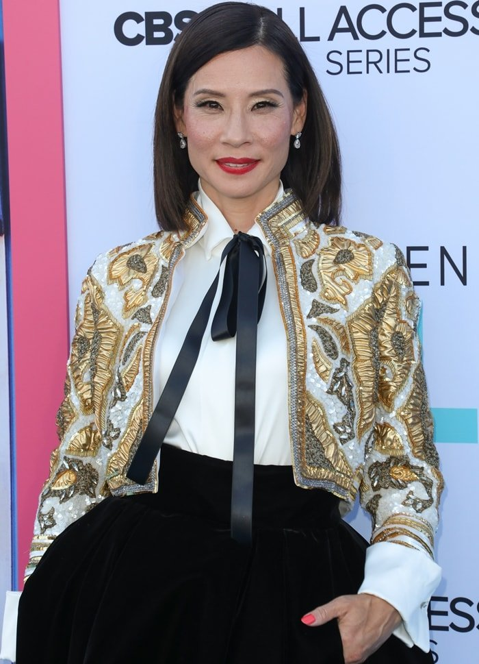 Lucy Liu's embellished cropped jacket by Alexandre Vauthier
