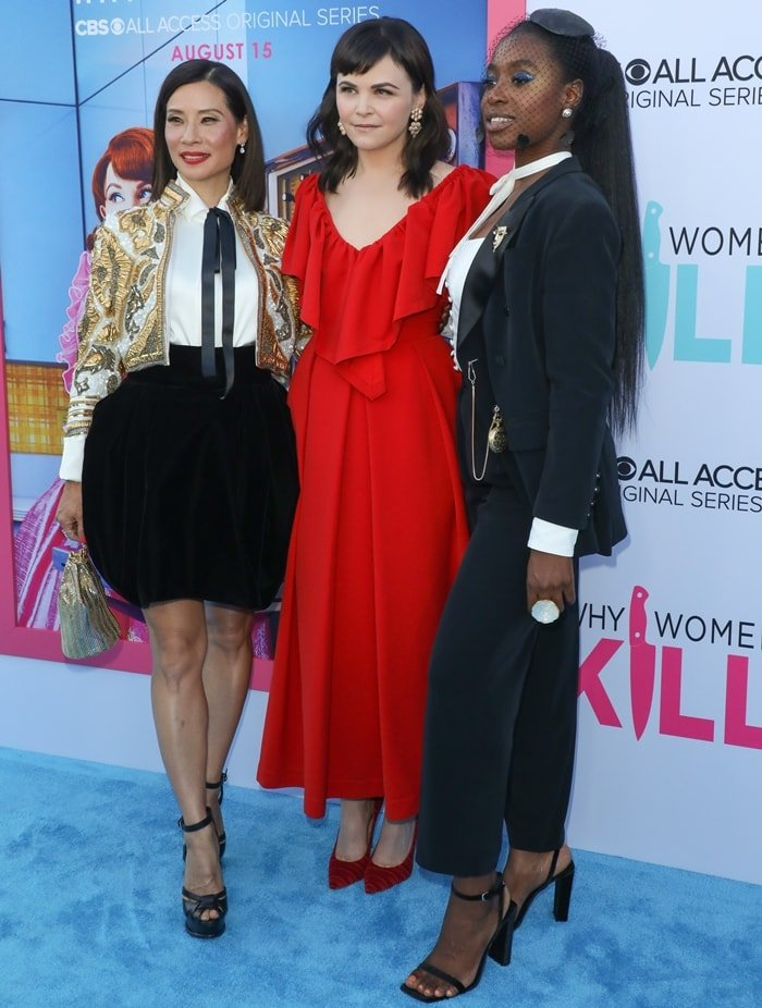 Lucy Liu, Ginnifer Goodwin, and Kirby Howell-Baptiste on the blue carpet while attending the premiere of their new series Why Women Kill