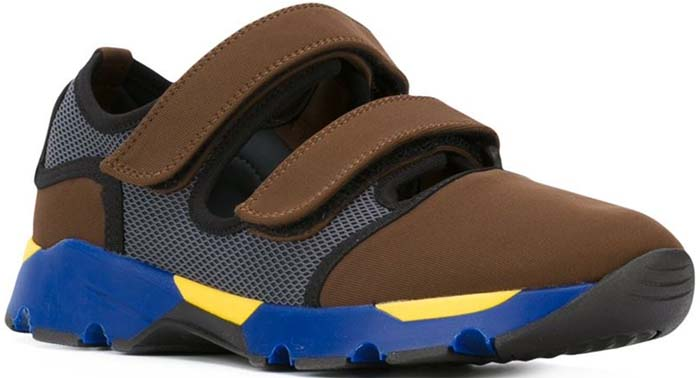 Marni Velcro Cutout Sneakers Brown Blue