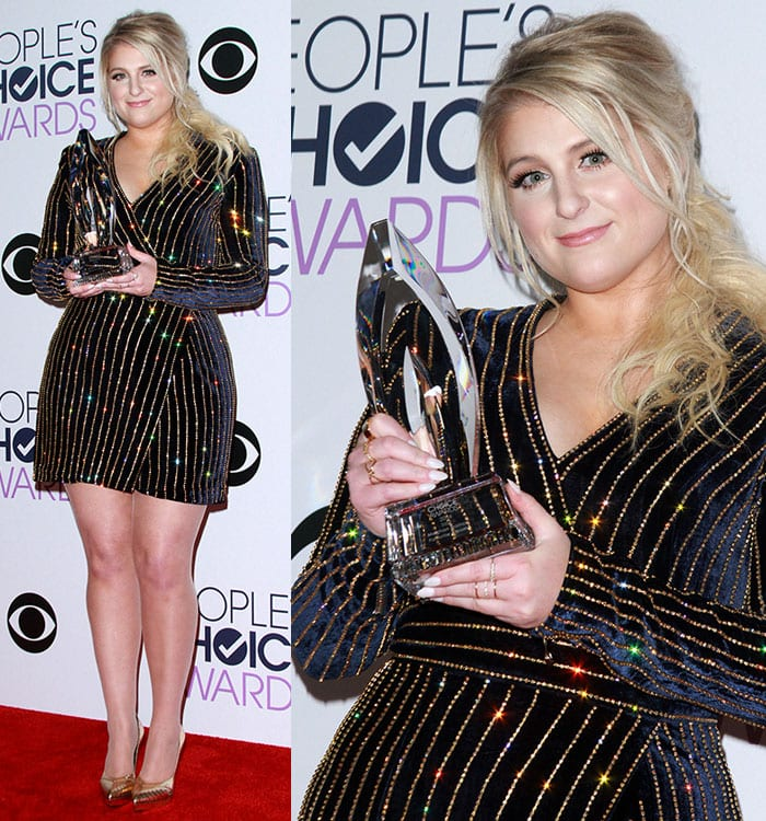 Meghan Trainor wears her blonde hair back at the 2016 People's Choice Awards