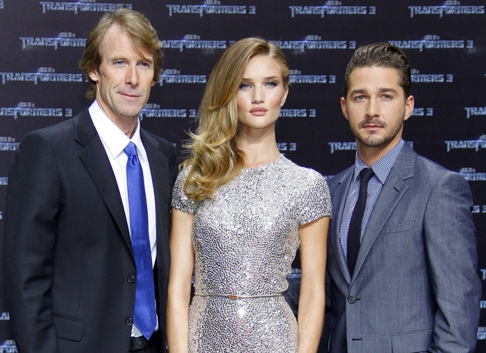 """Director Michael Bay, actress Rosie Huntington-Whiteley, and actor Shia LaBeouf attend the """"Transformers 3"""""""