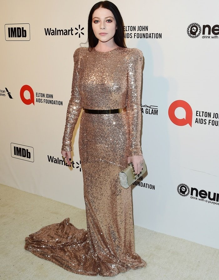 Michelle Trachtenberg wears a sparkling Mark Zunino dress at the 28th Annual Elton John AIDS Foundation Academy Awards Viewing Party