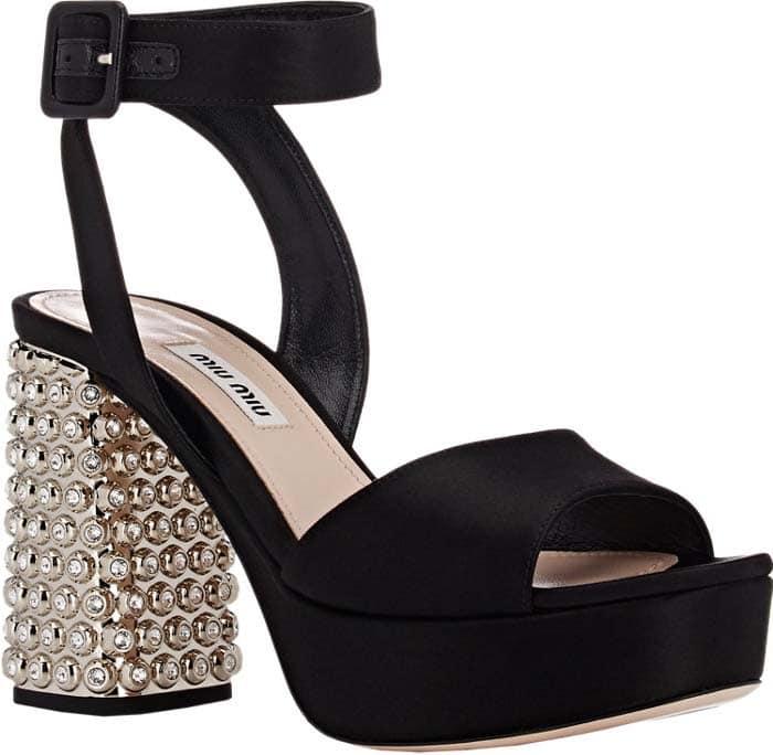 Miu Miu Embellished-Heel Ankle-Strap Sandals