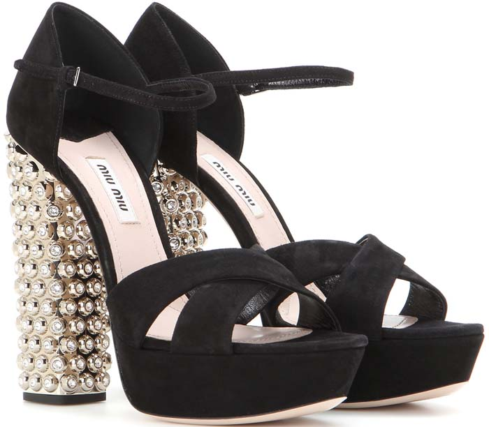 Miu Miu Embellished Suede Platform Sandals
