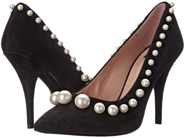 Boutique Moschino 100mm Pearl Suede Pumps