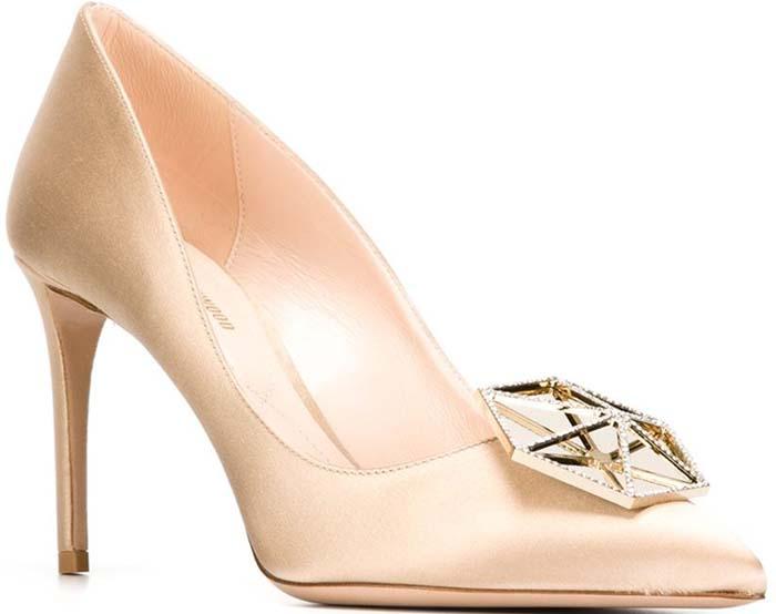 Nicholas Kirkwood Eden Crystal-Embellished Satin Pumps Gold