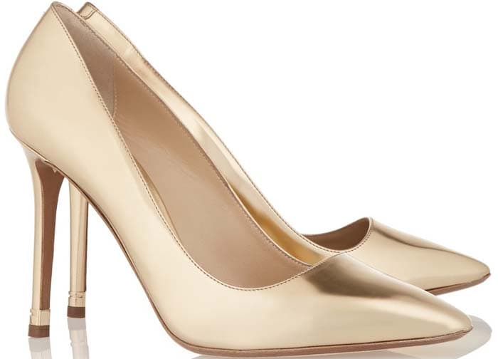 Nicholas Kirkwood Metallic Leather Pumps in Shiny Gold