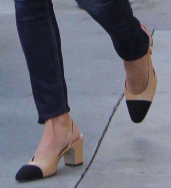 Nicky Hilton makes her feet look smaller in Chanel's iconic two-tone pumps
