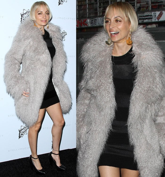 Alternating bands of brushed wool and grainy faux leather give Nicole Richie's short-sleeve shift dress dimensional texture play