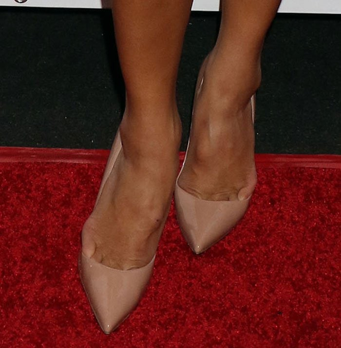 Nicole Scherzinger shows off her feet in Christian Louboutin pumps