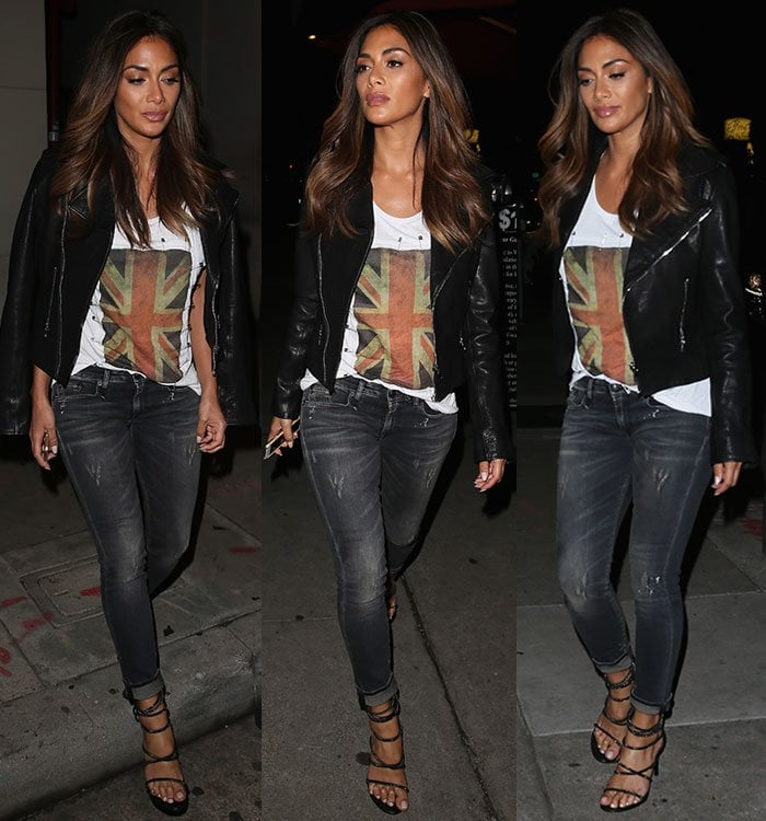 Nicole Scherzinger wears R13 jeans with a leather jacket and strappy sandals