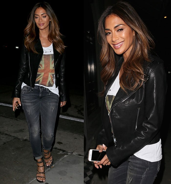 Nicole Scherzinger pairs strappy sandals with jeans and a leather jacket