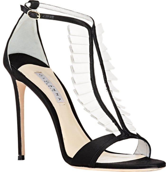 These black satin La Sensuelle sandals form part of Olgana Paris's elegant Black Tie collection