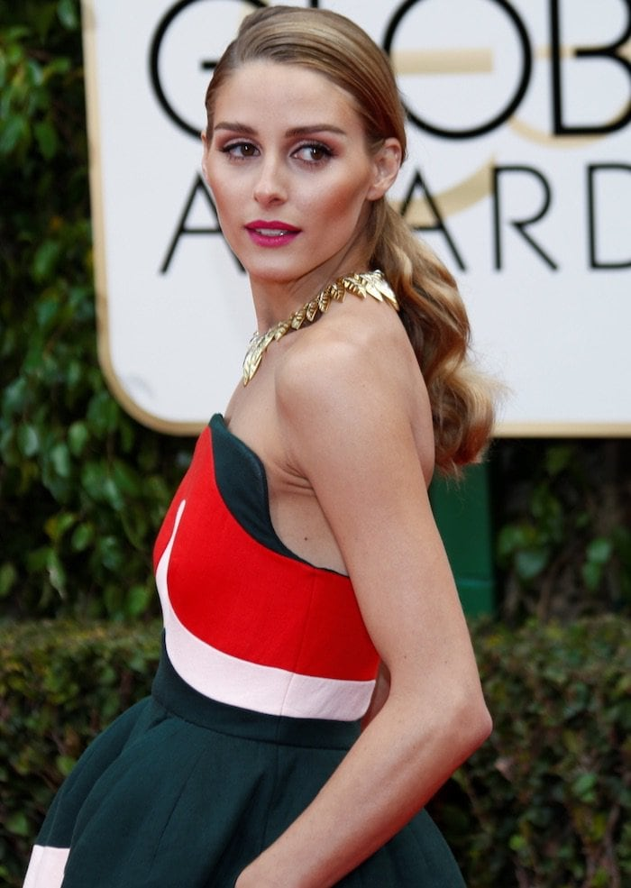 Olivia Palermo wears her hair in a ponytail at the 73rd Golden Globe Awards