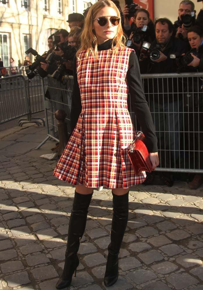 Olivia Palermo rocks a plaid Christian Dior dress