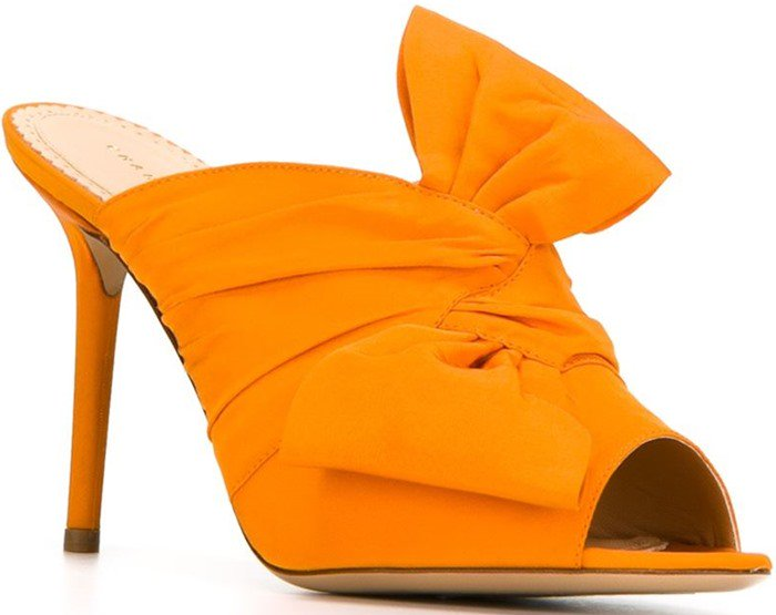 Made in Italy from lustrous satin, this peep-toe pair has a twisted bow at the front and a pin-thin heel