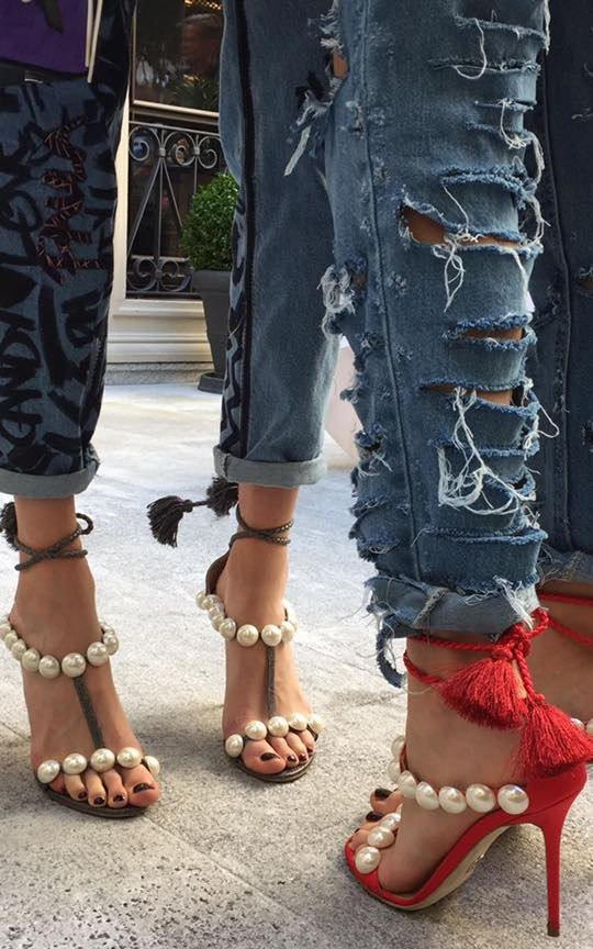Paula Cademartori 'Diana' sandals featuring tasseled ankle ties and embellished with rows of oversized pearls
