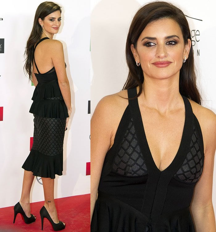Penelope Cruz's sexy dress features a cleavage-baring plunging neckline and a sexy crisscross back