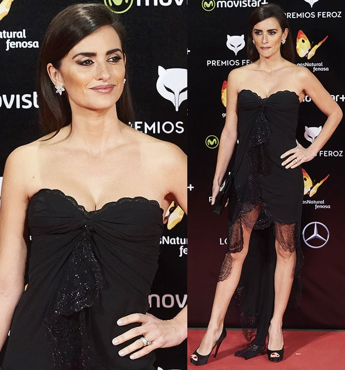 Penelope Cruz shows off her collarbone thanks to the scalloped sweetheart neckline of her little black dress