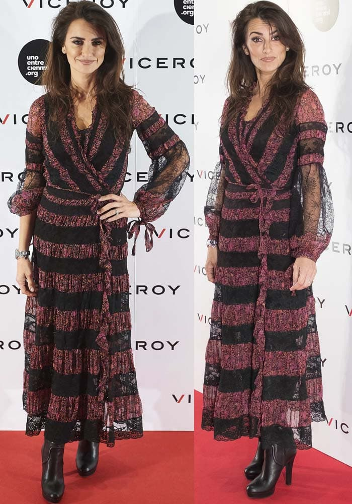 Penelope Cruz wears a black-and-burgundy Etro dress on the red carpet
