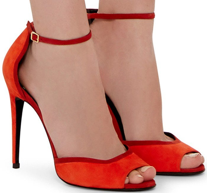 Pierre Hardy Red Kid Suede Skinissimo Ankle Strap Sandals
