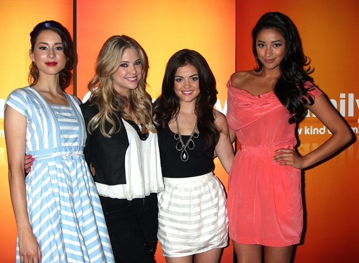 Troian Bellisario, Ashley Benson, Lucy Hale, and Shay Mitchell promoting Pretty Little Liars in May 2010