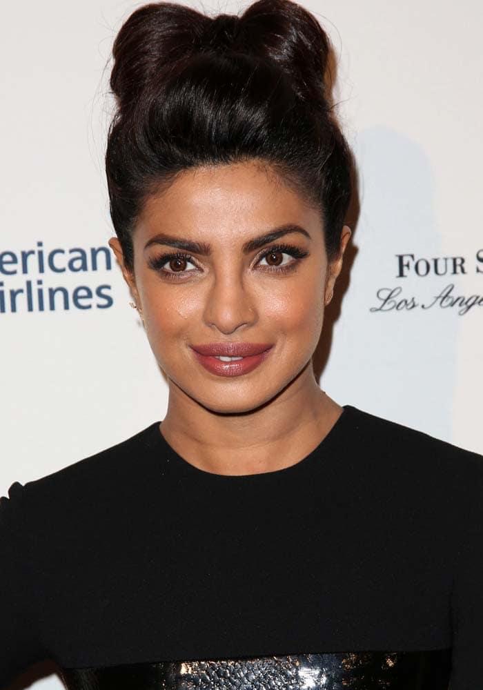 Priyanka Chopra wears her hair up at the BAFTA Los Angeles Awards Season Tea