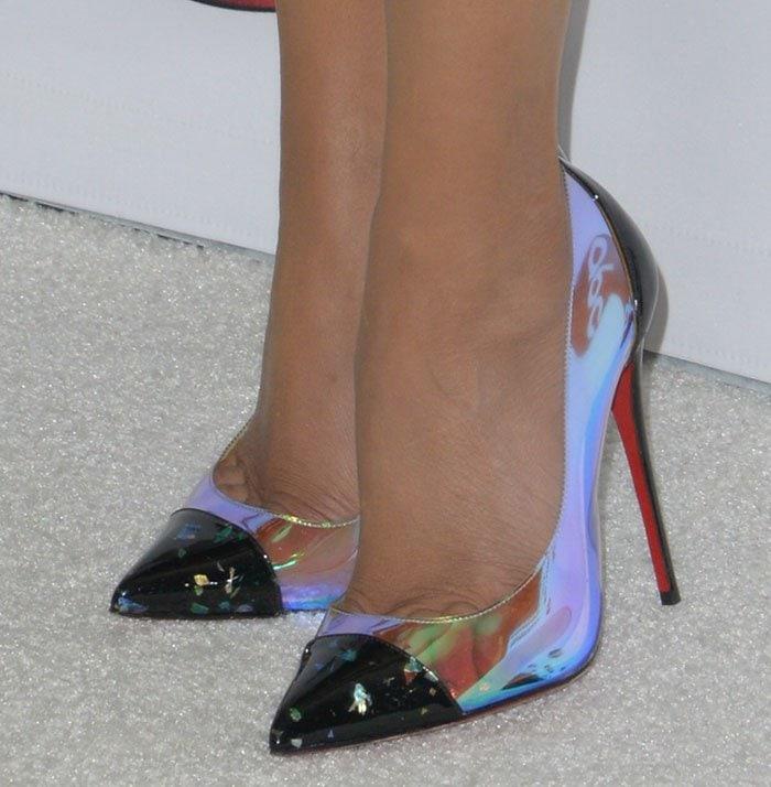 Priyanka Chopra's feet in iridescent Christian Louboutin pumps