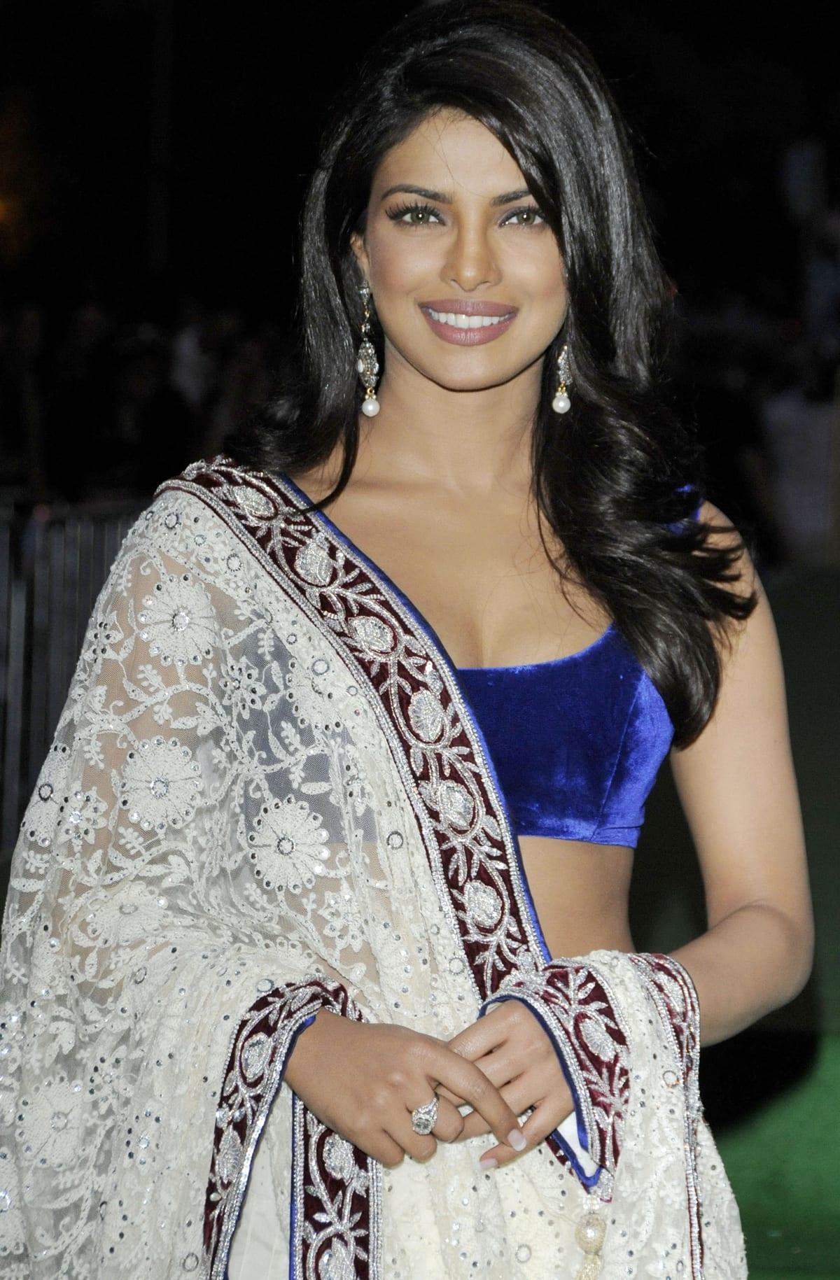 Priyanka Chopra paired a white lehenga with a blue velvet choli