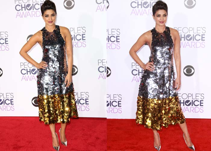 Priyanka Chopra sparkles on the red carpet in a sequin Vera Wang Collection dress