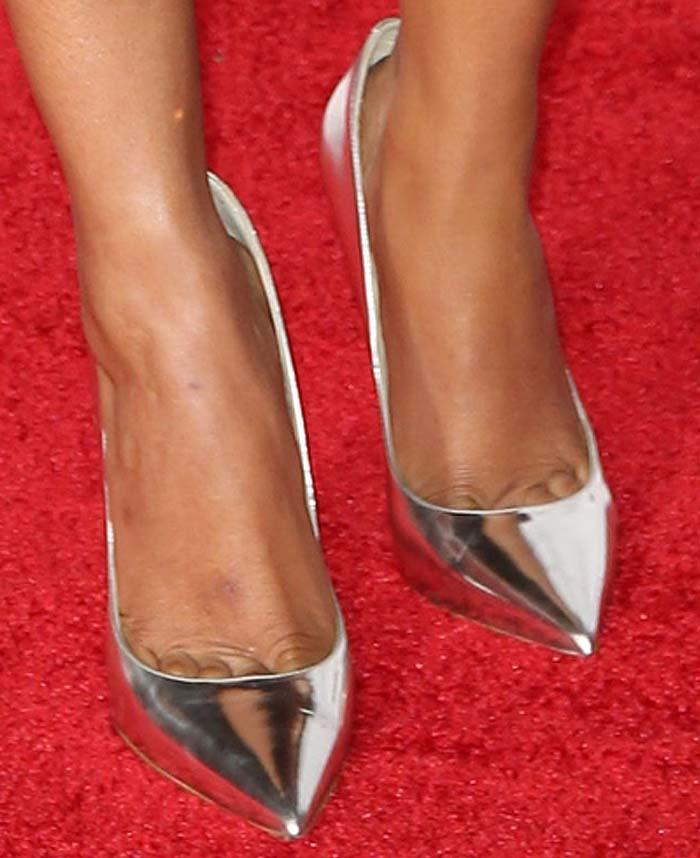 Priyanka Chopra's feet in silver Jimmy Choo pumps