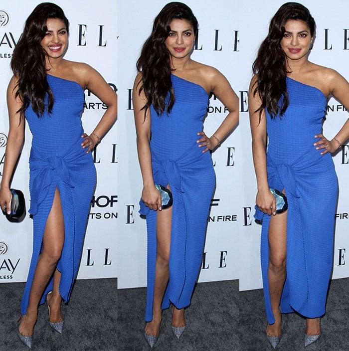 Priyanka-Chopra-Vionnet-one-shoulder-knot-thigh-split-dress