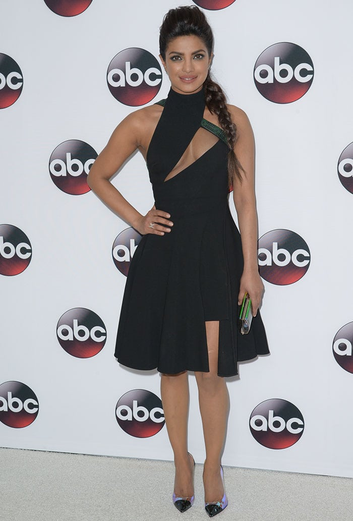 Priyanka Chopra wears an asymmetrical Versace dress on the carpet of the Disney/ABC Winter TCA Tour