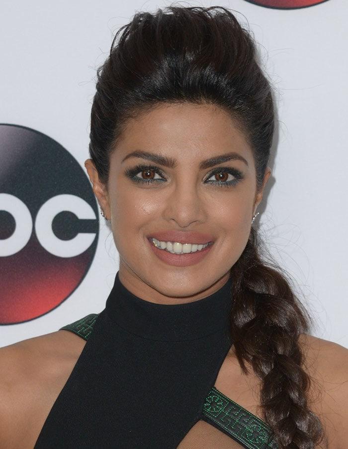 Priyanka Chopra wears her hair in a braid at Disney/ABC Winter TCA Tour