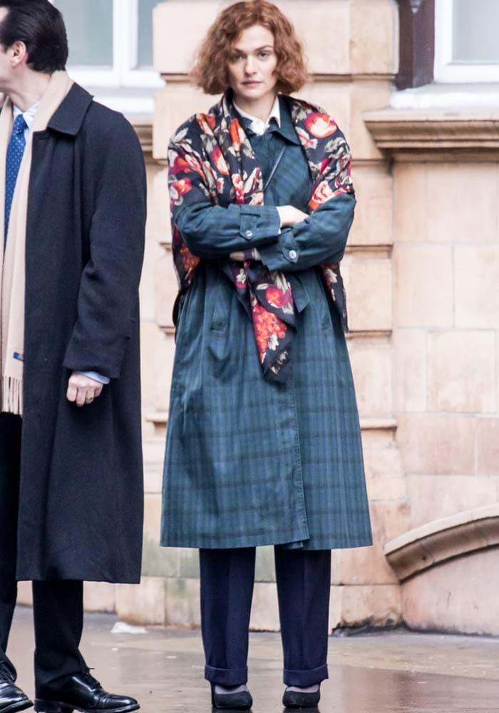 Rachel Weisz wears an ill-fitting outfit complete with a floral shawl on the set of her new movie