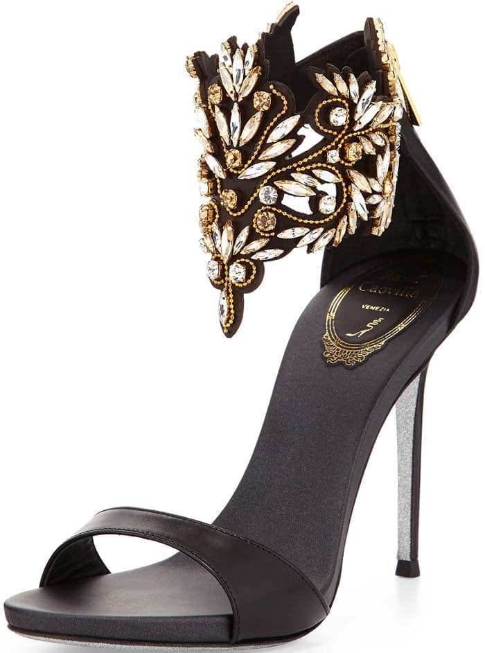 Rene Caovilla Embellished Ankle Cuff Sandal in Black