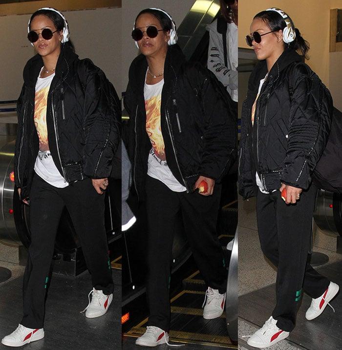 Rihanna-Madonna-shirt-black-jacket-pants-sneakers