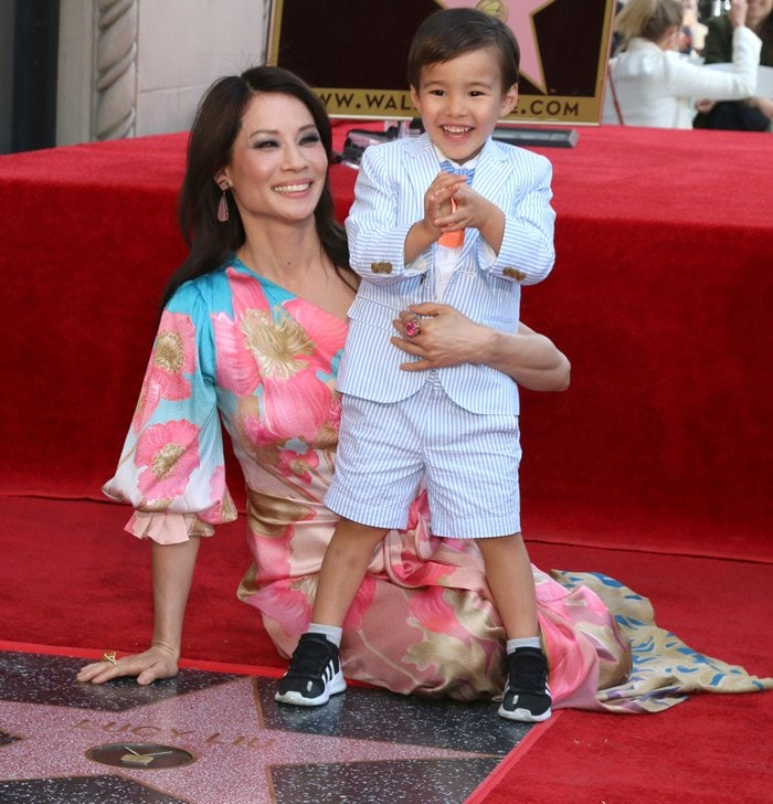 Single parent Lucy Liu with her son Rockwell Lloyd Liu