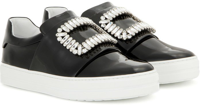 Roger Vivier Sneaky Viv black embellished patent leather sneakers