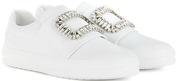 Roger Vivier Sneaky Viv white embellished patent leather sneakers