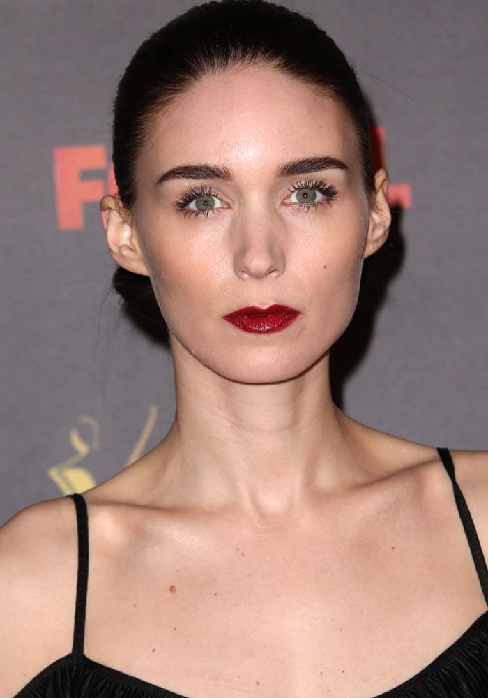 Rooney Mara wears her hair back in a tight updo at the AACTA International Awards