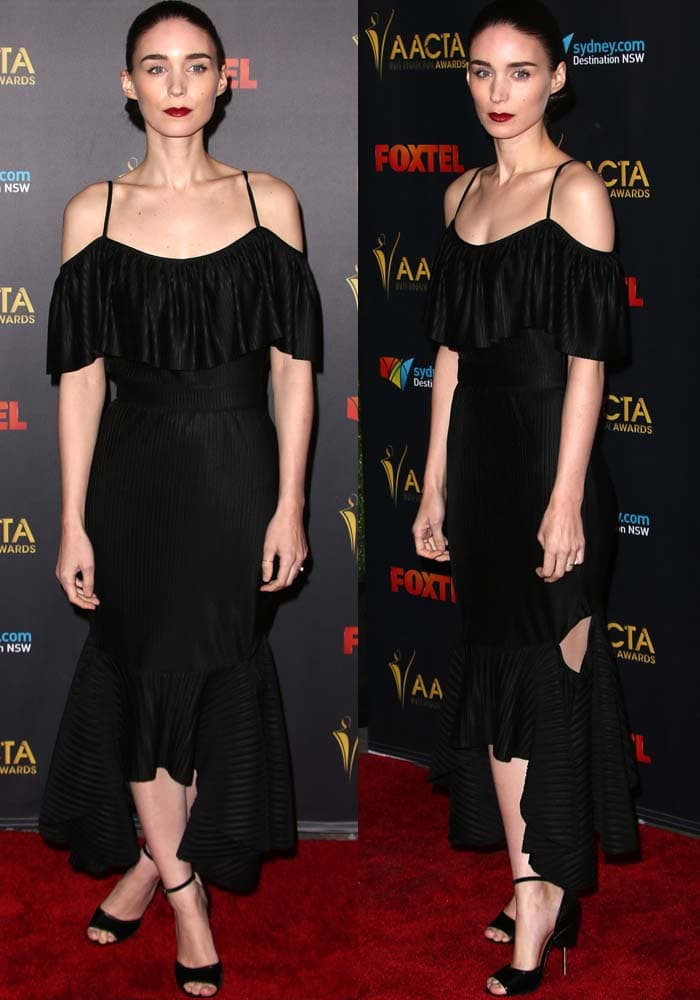 Rooney Mara wears an all-black Givenchy ensemble on the red carpet