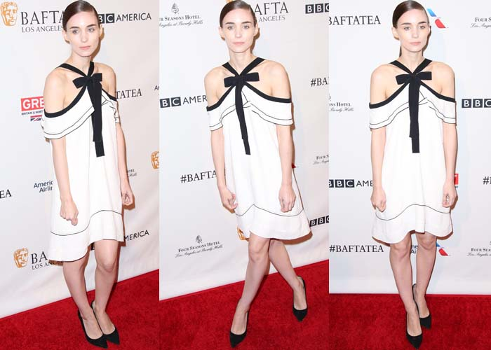 Rooney Mara wears a black-and-white dress from Proenza Schouler on the red carpet